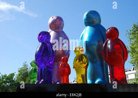 Mauro Perucchetti's Jelly Baby Family sculptures displayed in London's Marble Arch - Stock Photo