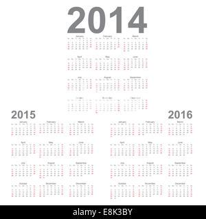 simple calendar year 2014 2015 2016 vector stock photo