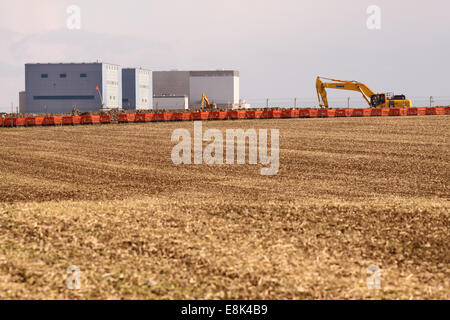 Hinkley Point C Somerset, UK. 9th October, 2014. View across farmland construction work on the new Hinkley Point - Stock Photo