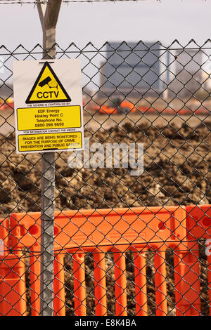 Hinkley Point C Somerset, UK. 9th October, 2014. Security CCTV monitors the perimeter of the new EDF Energy Hinkley - Stock Photo