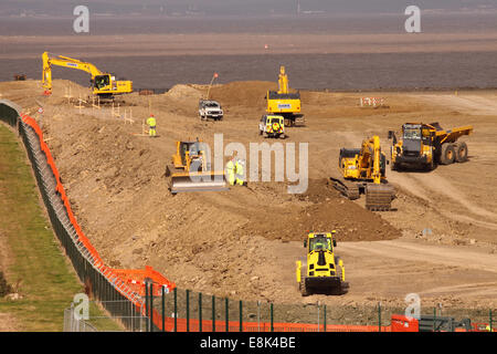 """Hinkley Point C Somerset, UK. 9th October, 2014. Construction work on the new Hinkley Point """"C"""" nuclear power station - Stock Photo"""