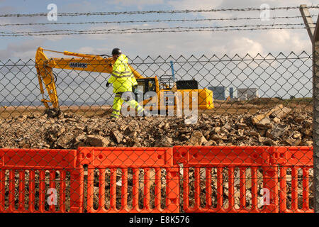 """Hinkley Point C Somerset, UK. 9th October, 2014. Construction work on the new EDF Energy Hinkley Point """"C"""" nuclear - Stock Photo"""