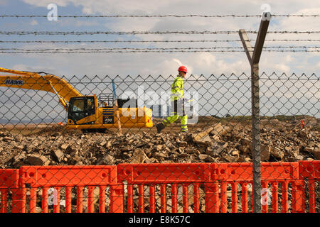 """Hinkely Point C Somerset, UK. 9th October, 2014. Construction work on the new EDF Energy Hinkley Point """"C"""" nuclear - Stock Photo"""