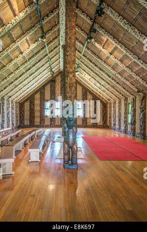 New Zealand, North Island, Paihia, Waitangi Treaty Grounds, Maori Meeting House (Large format sizes available) - Stock Photo