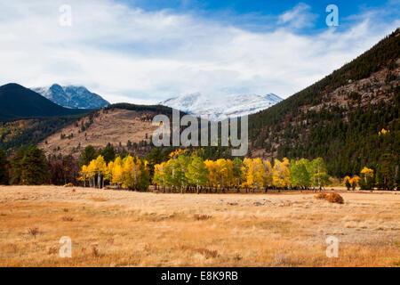 snow on Rocky Mountains in autumn. - Stock Photo