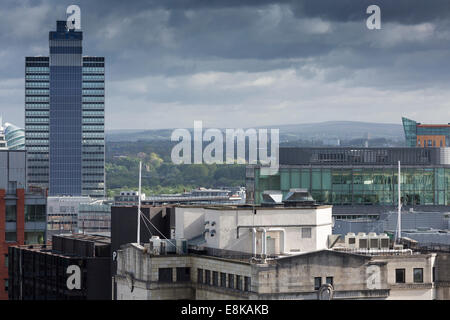 Views of Manchester's skyline form Manchester Town Hall clock towe showing the coop cis tower r - Stock Photo