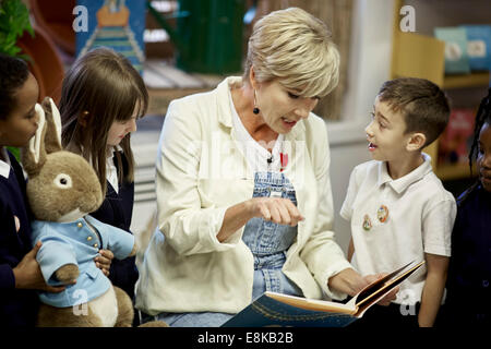 Actor and writer Emma Thompson, opening Gorton Library Peter Rabbit area. - Stock Photo