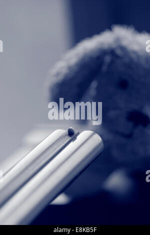 A small plush dog is faced with the muzzle of a gun. Black and white photograph, tinted blue. - Stock Photo