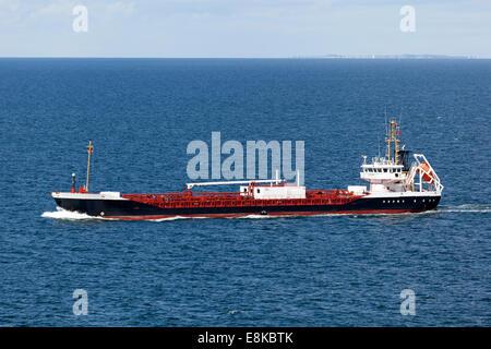 Freight vessel on the Baltic Sea near the Island of Langeland, Denmark - Stock Photo