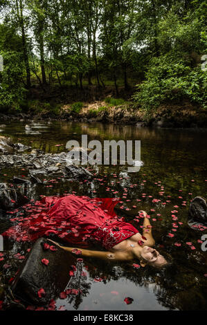 Modern Ophelia: A  woman girl wearing deep red frock ball gown lying on her back surrounded by petals floating 'dead' - Stock Photo