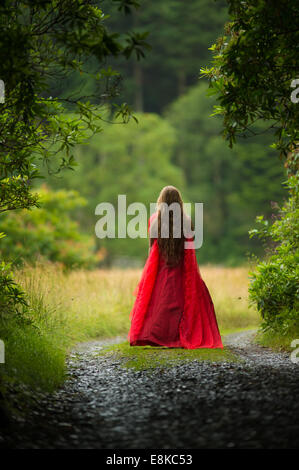 Scarlet woman: rear view back of a girl wearing a blood red frock dress stood standing alone  in woodland countryside - Stock Photo