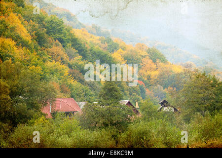 Vintage photo of rural landscape in the mountains - Stock Photo
