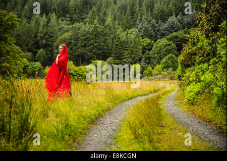Scarlet woman: a pensive introverted thoughtful girl wearing a blood red frock dress alone in woodland countryside - Stock Photo