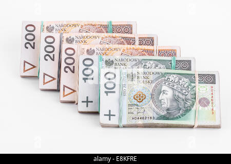 Business concept of Polish zloty stack banknotes isolated  on white background - Stock Photo