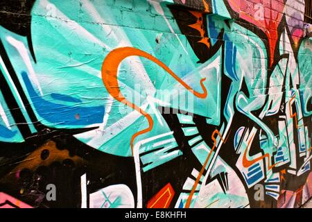 Street art graffiti, Hosier Lane, Melbourne - Stock Photo