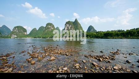 Beautiful river in Yangshuo Guilin in Guangxi province in China - Stock Photo