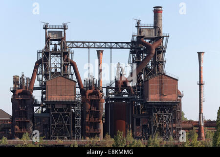 Decommissioned blast furnace plant with winch houses, former metallurgical plant, Duisburg-Nord Industrial Landscape - Stock Photo
