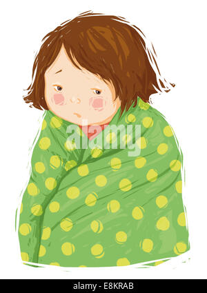 A young girl with a temperature. - Stock Photo