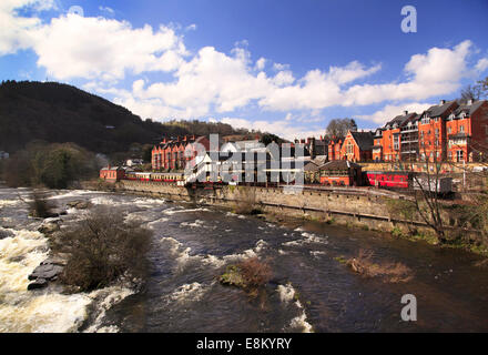 The River Dee and the Llangollen Railway Station, Llangollen, Denbighshire, Wales, Europe - Stock Photo
