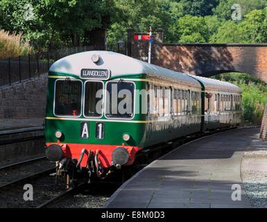 The rare Class 109 railcar DMU pulls into Llangollen Railway Station, Llangollen, Denbighshire, Wales, United Kingdom, - Stock Photo