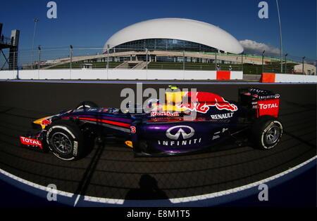 Sochi, Russia. 10th Oct, 2014. Australian racing driver Daniel Ricciardo of the Infiniti Red Bull Racing participates - Stock Photo
