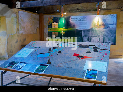 Display in the old mill, Fountains Abbey, near Ripon, North Yorkshire, England UK - Stock Photo