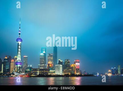 Skyline of shanghai the bund at night, landmark of China. - Stock Photo