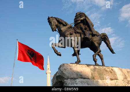 Tirana main square with the statue of Skanderberg, Albania - Stock Photo