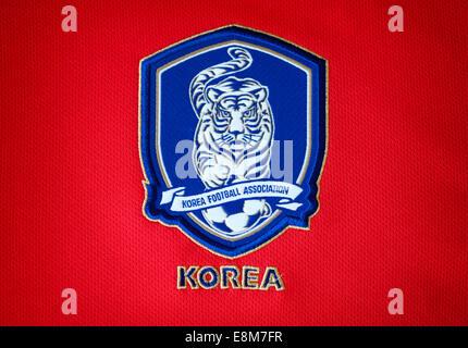 Close up of the Korea Republic (South Korea) national football team kit - Stock Photo