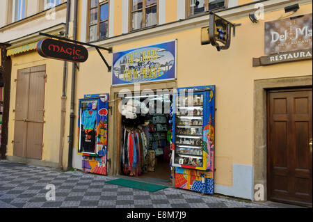 A colourful front tourist shop in the City of Prague, Czech Republic. - Stock Photo