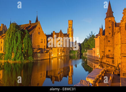 Bruges - View from the Rozenhoedkaai in Brugge with the Perez de Malvenda house and Belfort van Brugge - Stock Photo