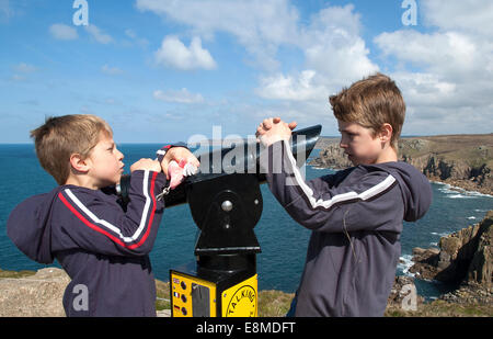 two young boys disagreeing - Stock Photo