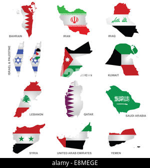 Gulf State Flags - Stock Photo