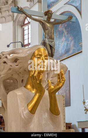 PADUA, ITALY - SEPTEMBER 8, 2014: The detail of statue of pulpit in Cathedral of Santa Maria Assunta (Duomo) by - Stock Photo
