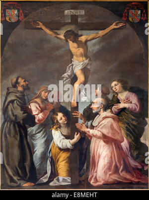 PADUA, ITALY - SEPTEMBER 9, 2014: The Crucifixion and the saints in the church Cathedral of Santa Maria Assunta - Stock Photo