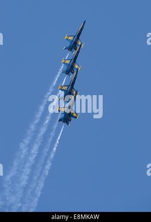 March 15, 2013 - U.S. Navy flight demonstration squadron, the Blue Angels, Diamond pilots perform the Left Echelon - Stock Photo