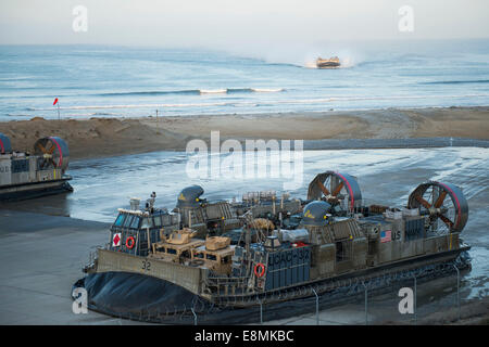 April 24, 2014 - Landing Craft Air Cushions return to their homeport at Marine Corps Base Camp Pendleton, California. - Stock Photo