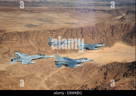 May 13, 2014 - F-16 Fighting Falcons from the U.S. and Royal Jordanian Air Forces, along with an F-18 Hornet from - Stock Photo