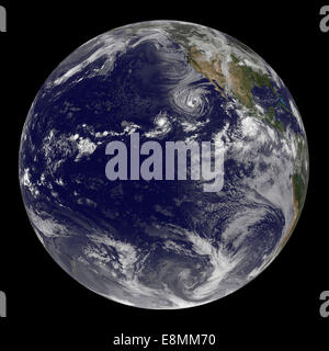 August 22, 2014 - Full Earth showing Tropical Storm Lowell, Tropical Storm Karina, and Tropical Storm Marie. - Stock Photo