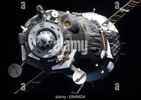November 10, 2013 - The Soyuz TMA-09M spacecraft departs from the International Space Station's Zvezda Service Module. - Stock Photo