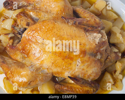 Roasted Chicken with potatos isolated on white background - Stock Photo