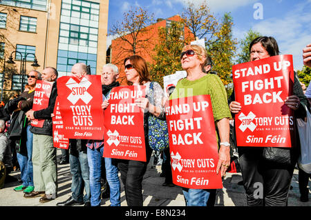 Protest against austerity cuts, Belfast, Northern Ireland - Stock Photo