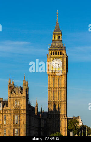 Elizabeth Tower, Big Ben in early morning light, London, England, UK - Stock Photo
