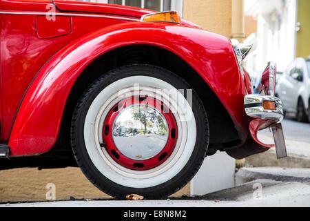 Vintage classic old VW Beatle car side view closeup - Stock Photo