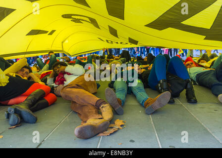 Paris, France. Public Demonstration, Anti-Nuclear Power Goups Protesting Against the 'World Nuclear Exhibit' Crowd - Stock Photo