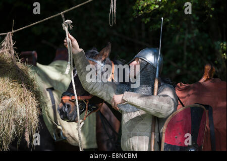 Battle Abbey, East Sussex, UK. 11th October 2014. Approximately 400 soldiers took part in a re-enactment of the - Stock Photo