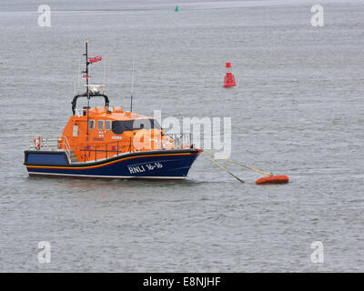 Tamar class Royal National Lifeboat Institution lifeboat Mollie Hunt moored in the river Torridge, North Devon - Stock Photo