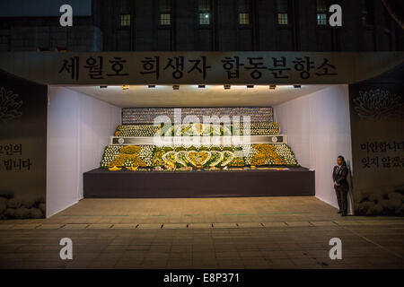 Sewol Ferry victims memorial in Seoul, South Korea - Stock Photo