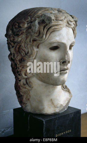 Dionysus. God of the grape harvest. Roman equivalent, Bacchus. Bust. Young Dionysus. Roman copy of a Greek work. - Stock Photo