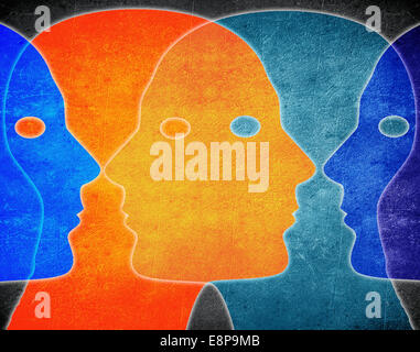 four heads colors digital illustration - Stock Photo